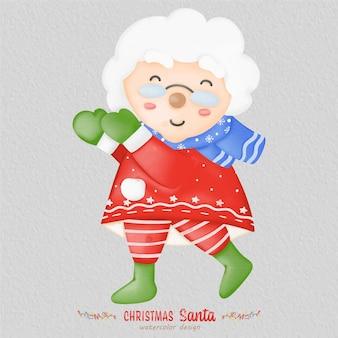 Ilustração em aquarela de papai noel de natal, com um fundo de papel. para design, estampas, tecido ou plano de fundo. vetor de elemento de natal.