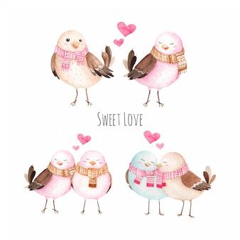 Ilustração em aquarela de pássaro doce amor