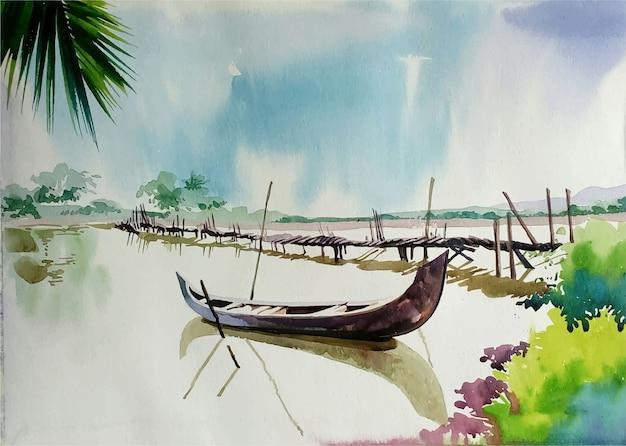 Ilustração em aquarela de pássaros pintados à mão