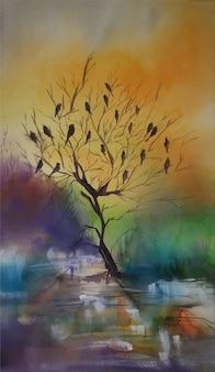 Ilustração em aquarela de pássaros pintando na árvore sem folhas.