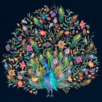 Ilustração em aquarela de pavão abrindo suas caudas