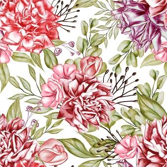 Ilustração em aquarela de peônias padrão sem emenda