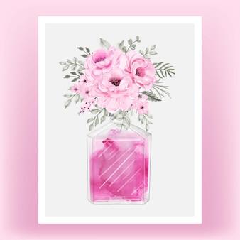 Ilustração em aquarela de perfume rosa peônia rosa