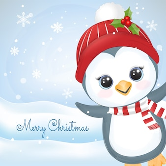 Ilustração em aquarela de pinguim bebê fofo e floco de neve desenhado à mão