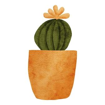 Ilustração em aquarela de planta de casa em vaso de flores de cacto