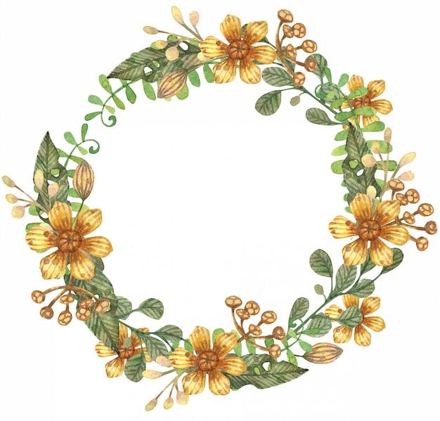 Ilustração em aquarela de primavera folhas, galhos e flores. guirlanda de flores.