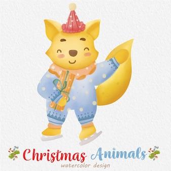 Ilustração em aquarela de raposa de natal com fundo de papel