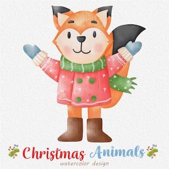 Ilustração em aquarela de raposa de natal, com um fundo de papel. para design, estampas, tecido ou plano de fundo. vetor de elemento de natal.