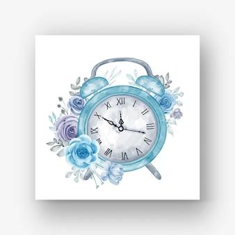 Ilustração em aquarela de relógio despertador flor azul