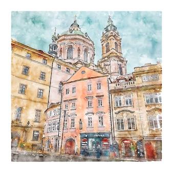 Ilustração em aquarela de república tcheca desenhada à mão