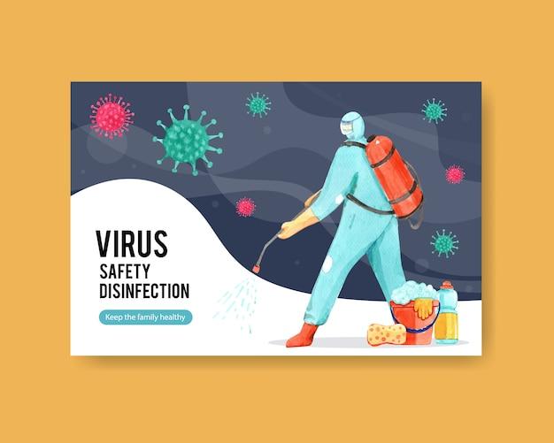 Ilustração em aquarela de segurança de coronavírus