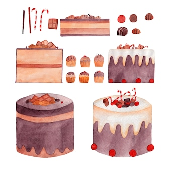 Ilustração em aquarela de sobremesas