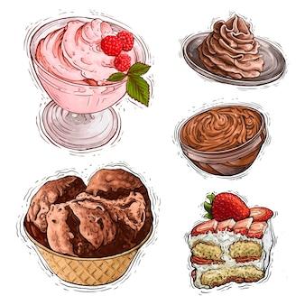 Ilustração em aquarela de sorvete e bolo sobremesa