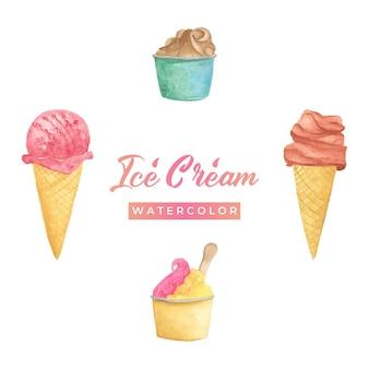 Ilustração em aquarela de sorvete
