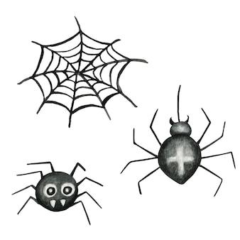 Ilustração em aquarela de teia de aranha e aranhas de halloween