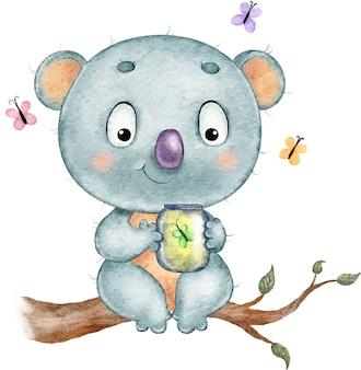 Ilustração em aquarela de um coala engraçado fofo e engraçado sentado em um galho com borboletas