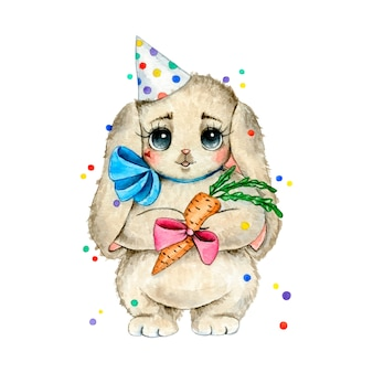 Ilustração em aquarela de um coelho de aniversário. coelho fofo fofo em um chapéu de aniversário com uma cenoura presente isolada