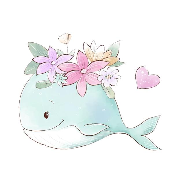 Ilustração em aquarela de um desenho bonito de baleia com flores delicadas