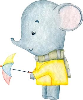 Ilustração em aquarela de um elefante cinzento fofo com uma capa de chuva amarela segurando um guarda-chuva