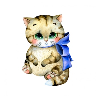 Ilustração em aquarela de um gatinho malhado gordo bonito dos desenhos animados com um laço azul isolado