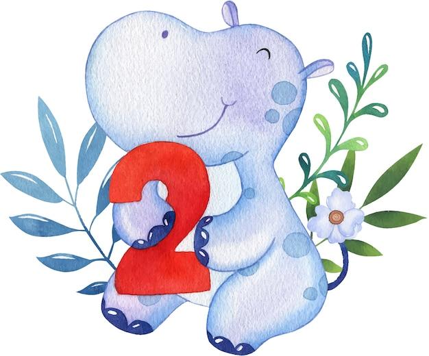 Ilustração em aquarela de um hipopótamo lilás fofo em um fundo de folhas e flores com o número 2
