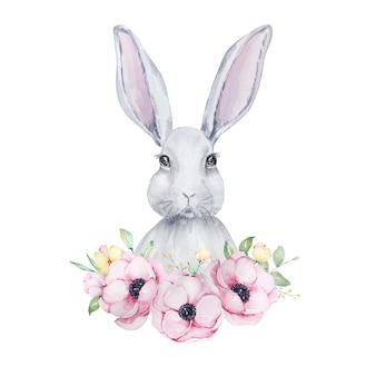 Ilustração em aquarela de um lindo retrato cinza e branco de um coelhinho da páscoa com um buquê de flores de anêmonas