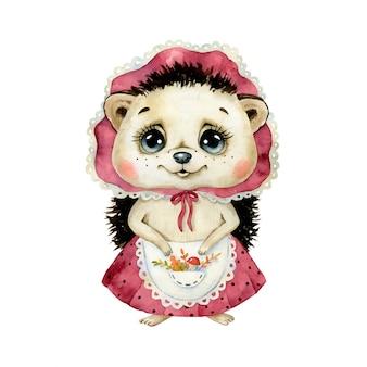 Ilustração em aquarela de um ouriço de menina bonito dos desenhos animados em um boné, saia e avental com folhas de outono e cogumelos.