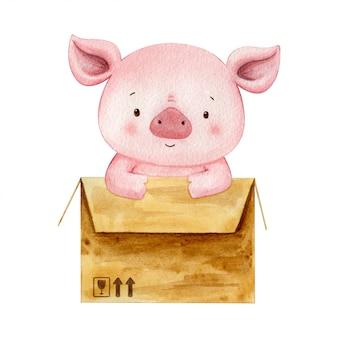 Ilustração em aquarela de um pigglet amigável sente-se em uma caixa marrom em movimento