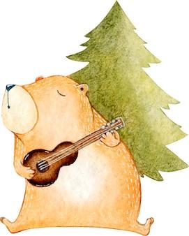 Ilustração em aquarela de um ursinho de pelúcia marrom cantando uma canção de violão sob a árvore