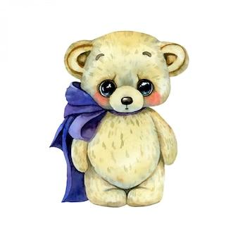Ilustração em aquarela de um urso de pelúcia bonito dos desenhos animados com laço isolado