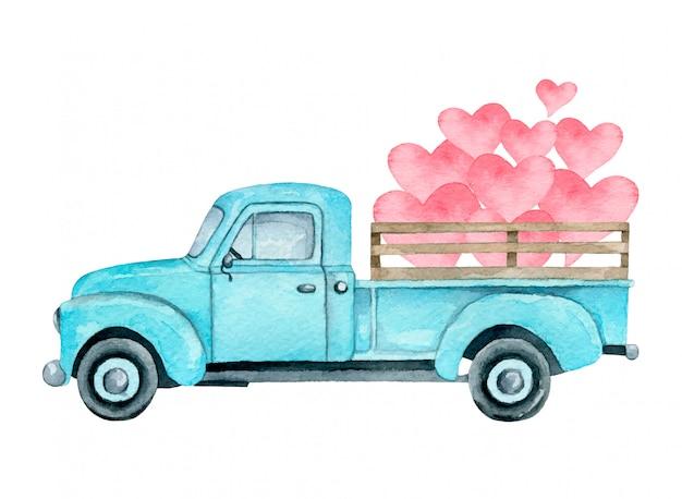 Ilustração em aquarela de uma caminhonete azul com corações rosa isolado. caminhão do dia dos namorados.
