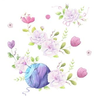 Ilustração em aquarela de uma coroa de flores de um buquê de rosas selvagens de cor rosa pálido e acessórios para tricô bordado