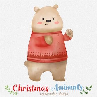 Ilustração em aquarela de urso de natal com fundo de papel vetor de elemento de natal