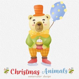 Ilustração em aquarela de urso de natal com fundo de papel