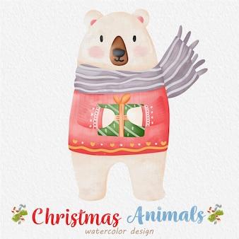 Ilustração em aquarela de urso de natal, com um fundo de papel. para design, estampas, tecido ou plano de fundo. vetor de elemento de natal.