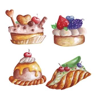 Ilustração em aquarela de várias sobremesas e frutas doces.