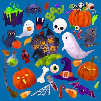 Ilustração em aquarela de vetor de arte de halloween desenhada à mão