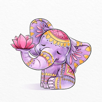 Ilustração em aquarela diwali com elefante