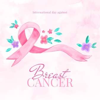 Ilustração em aquarela do dia internacional contra o câncer de mama