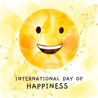 Ilustração em aquarela do dia internacional da felicidade