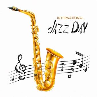 Ilustração em aquarela do dia internacional do jazz