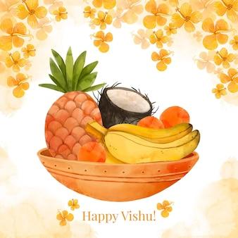 Ilustração em aquarela feliz vishu