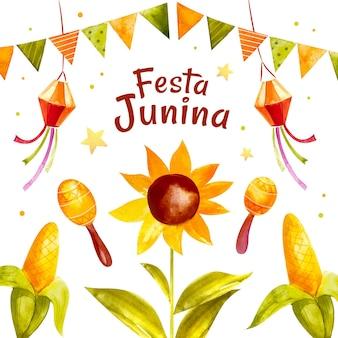 Ilustração em aquarela festa junina pintada à mão