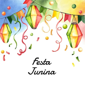 Ilustração em aquarela festa junina pintada à mão Vetor grátis