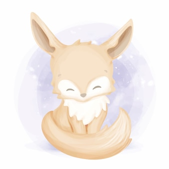 Ilustração em aquarela foxy lindo bebê