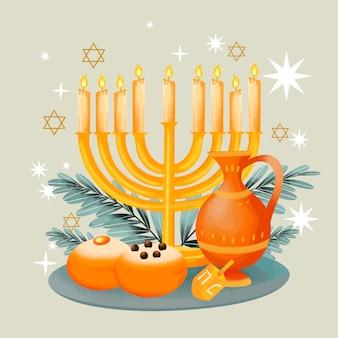 Ilustração em aquarela hanukkah com refeição deliciosa Vetor Premium