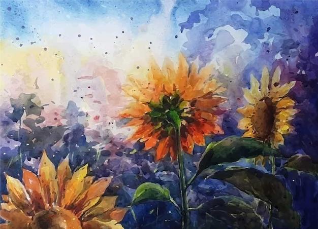 Ilustração em aquarela linda flor do sol arte na parede