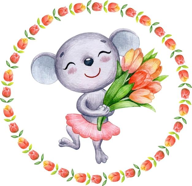 Ilustração em aquarela linda primavera de um rato com um buquê de flores de tulipa para cartão de dia dos namorados
