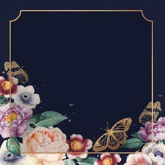 Ilustração em aquarela luxuosa com moldura dourada peônia colorida