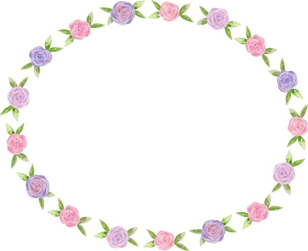Ilustração em aquarela moldura oval floral rosa